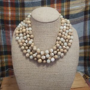 Vintage, Agate, wood, and acrylic beaded necklace